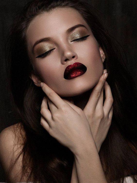 Gold glitter metallic eyes, matte metallic red glitter lips #makeup: