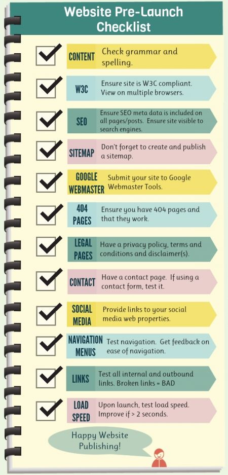 Website launch checklist | web development | general | http://www.helpmequitthe9to5.com checklist | infographic : 1 | ram2013 #webdesign #tips  check out http://www.imedia.click for more awesome info on how to build your Amazing wordpress website