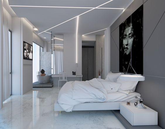 Chambre adulte blanche 80 id es pour votre am nagement design and interieur - Eclairage chambre mansardee ...