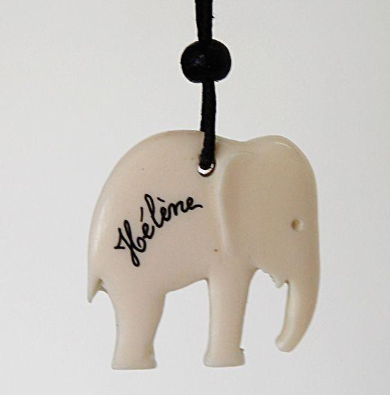 Collier éléphant personnalisé  Bijou prénom  Création artisanale