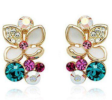 Atemberaubende Blatt Ohrringe mit Swarovski Kristall 18 Karat vergoldete
