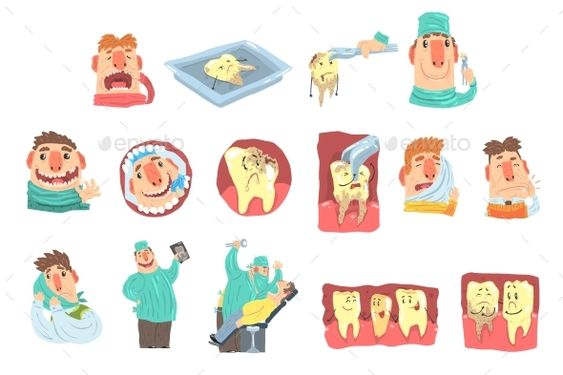 Cartoon Dentist And Patient Illustration Set Dentist Cartoon Graphic Design Art