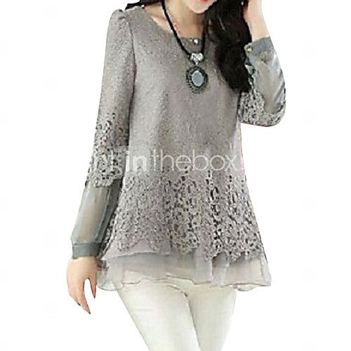 Women's Patchwork Black/Beige/Gray Blouse,Casual Round Neck Long Sleeve Hollow Out 2016 - $12.99