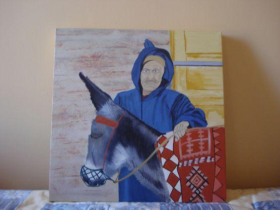 """""""Le vieil homme et son âne"""" peinture à l'huile sur châssis entoilé 3D de 50cmX50cm : Peintures par lalycoud"""