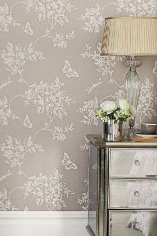 Butterfly Trail Wallpaper - could paper wall behind bed, freshen up creamy white on other 3 walls and add a grey carpet & curtains. 3 square picture frames would go on wall opposite bed - silver frames?