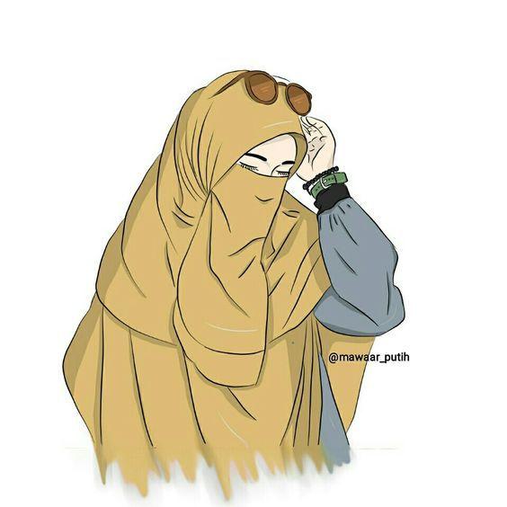 Profil Kartun Muslimah Bercadar Kartun Ilustrasi Karakter Gambar