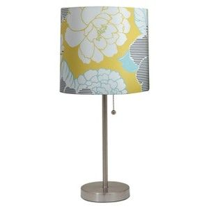 target mobile site stick lamp with yellow white teal flower print