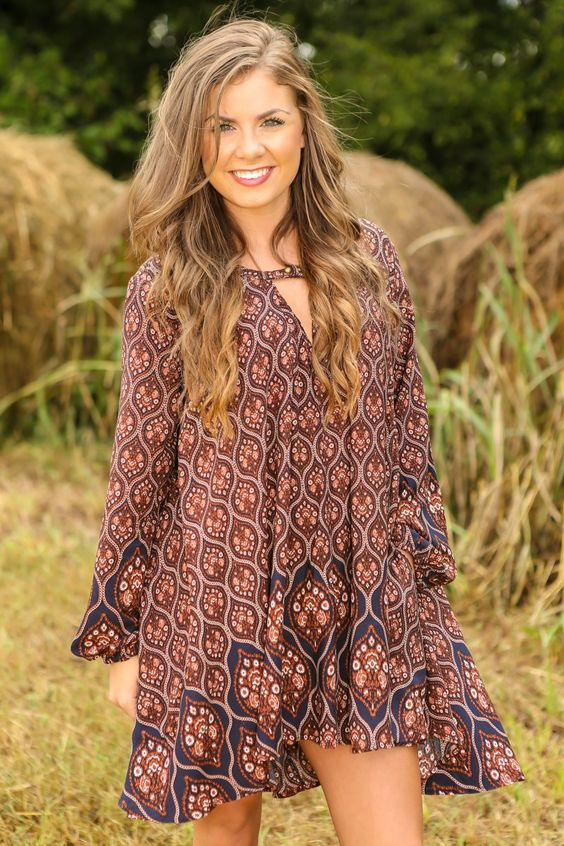 Easy Come, Easy Boho Dress-Navy | The Red Dress Boutique