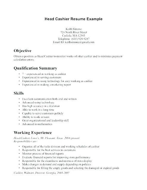 Example Of Cashier Resume Cashiers Resume