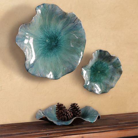 Fiori 04100.3 Fiore Flower Ceramic Wall Art Bowls Blue In 2020 Tuscan