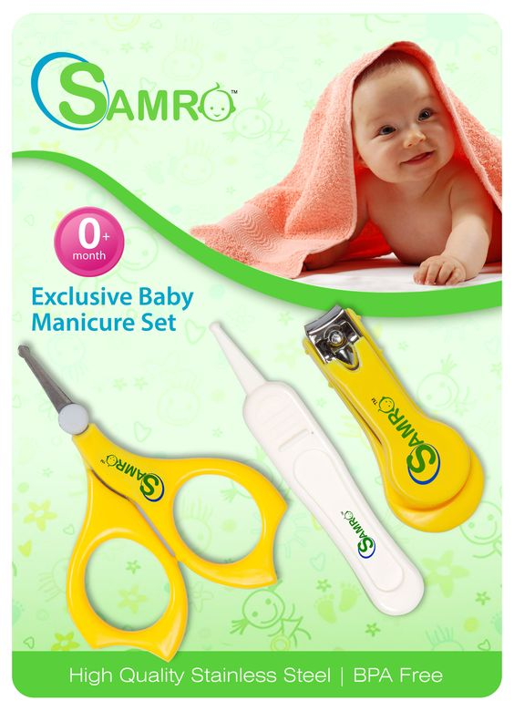 Baby Nail Clipper Set VERSATILE - Fold-up nail clippers sized for child's smaller nails. Baby nail clipper set contains even fine tip tweezer and scissors with safety covers. http://www.samrogroup.com