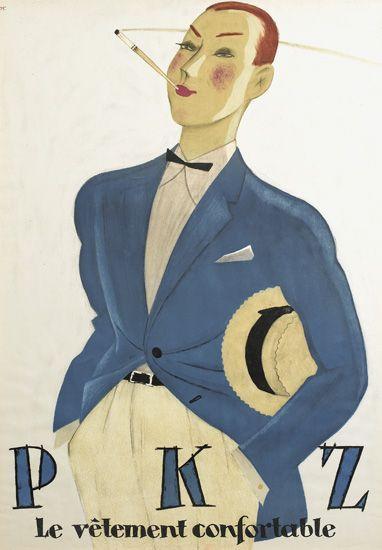 vêtement PKZ - 1925 - illustration de Hugo Laubi -