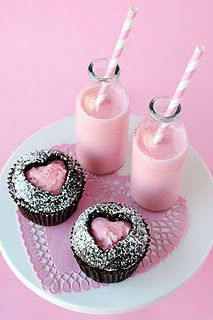 Use a cookie cutter to cut out a heart & fill with frosting.