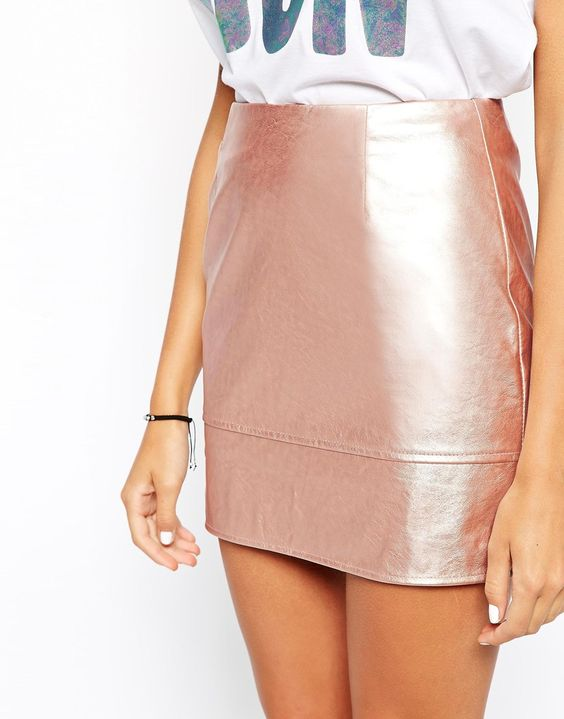 Image 3 of ASOS Mini Skirt in Leather Look in Rose Metallic: