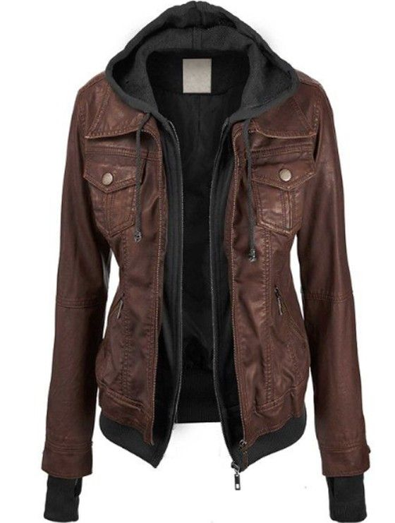 Coffee Plain False 2-in-1 Long Sleeve Fashion PU Leather Jacket SIZE XL OR XXL DEPENDING ON HOW IT'S MADE
