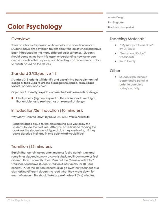 color psychology lesson plan housing interior design lesson plans