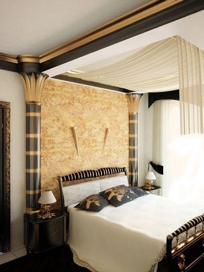 фото дизайн спальни в египетском стиле