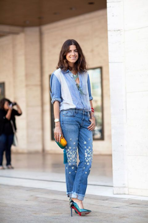 Leandra Medine keeps it cool in shades of blue, paired with super luxe footwear.