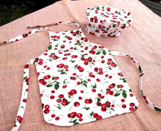 Child Chef Apron Hat Set / Cherry Pattern / by ALittleMerriment, $18.00