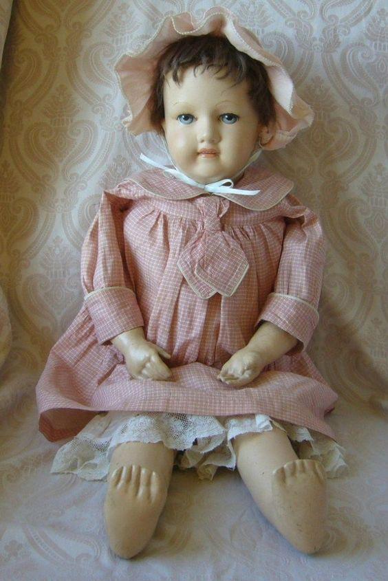 Gertrude Rollinson Cloth Doll from joan-lynetteantiquedolls on Ruby Lane