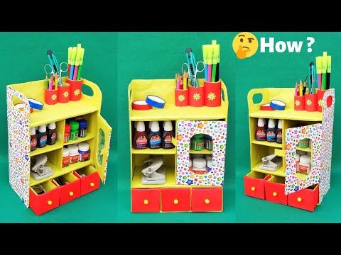 Diy Desk Organizer From Waste Shoebox Best Out Of Waste Space Saving Room Organizer Youtube Desk Organization Diy Diy Desk Desk Organization