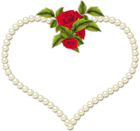Pearl Transparent Heart Frame with Roses: