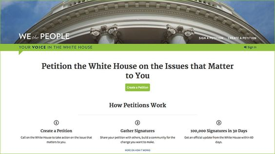 The White House Has Temporarily Removed Its We The People