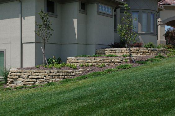 "6"" limestone tiered retaining wall #TopekaLandscape"