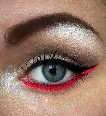 Coloured soft red lower lash eyeliner. Actually the first time I've seen a red eye make up that I like.