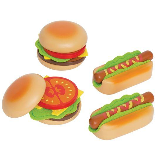 Maak je eigen hamburgers en hotdogs met dit leuke speeleten van het merk Hape. Met deze set kun je 2 broodjes hamburger maken en 2 hotdogs.