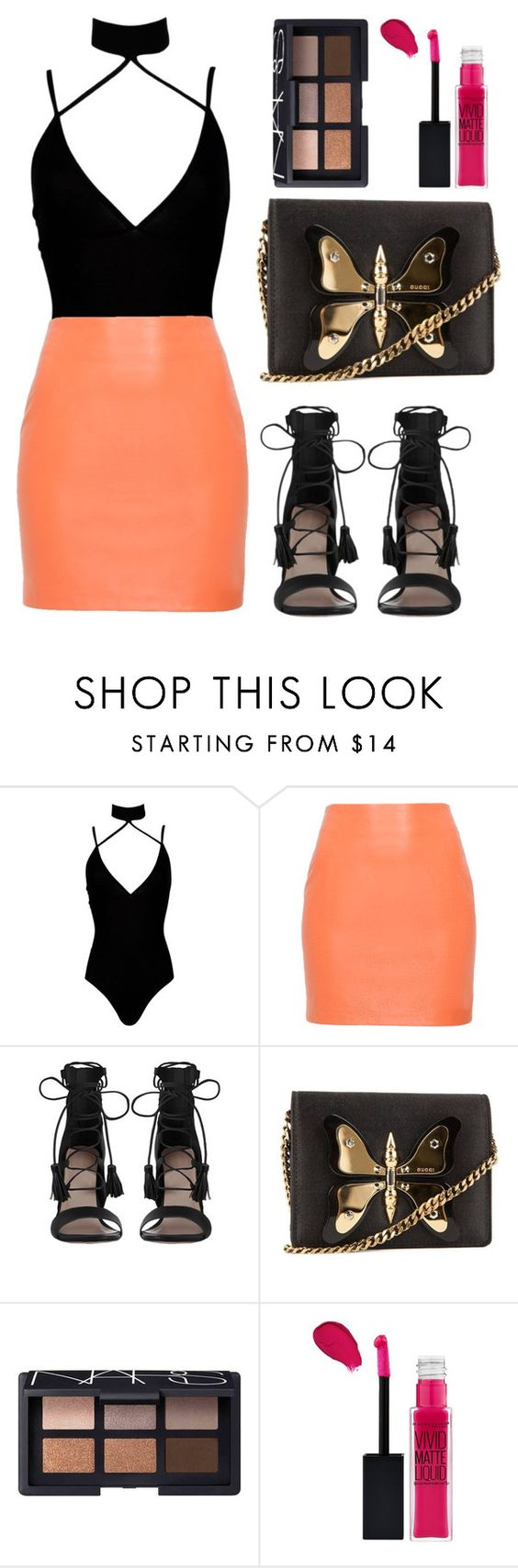 """""""Untitled #1413"""" by notifized ❤ liked on Polyvore featuring Boohoo, Zimmermann, Gucci, NARS Cosmetics and Maybelline"""