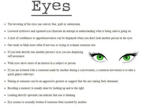 Body language: eyes | Writing | Pinterest | Language, Eyes and ...