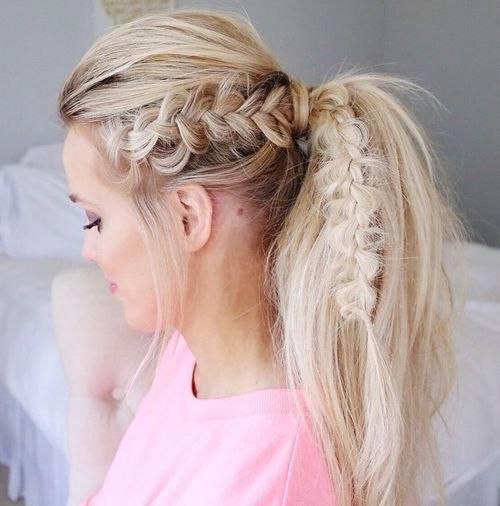 Blonde Tousled Ponytail With A Bouffant And Braid Messybraided Vlechten Haar Elastiekjes