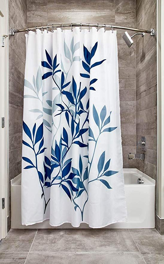 Amazon Com Interdesign Leaves Fabric Shower Modern Mildew Resistant Bath Curtain For Master Fabric Shower Curtains Cool Shower Curtains Blue Shower Curtains