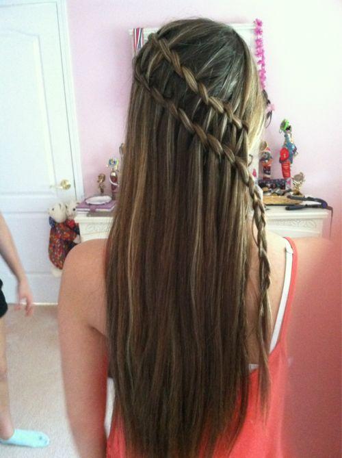 two waterfall braids