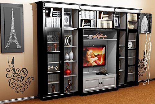 Casa Padrino Luxus Wohnzimmer Schrankwand Schwarz Weiss B 372 X H