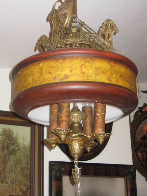 Antique 4 Light Chandelier, ART DECO STYLE