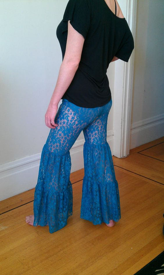 Womens Turquoise Lace Flare Pants Bellydance Hoop by BlissBus, $75.00