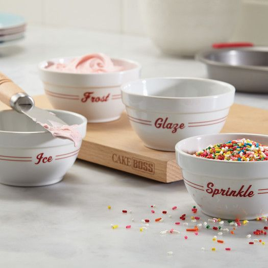 "Features:  -Set includes (4) 8 ounce bowls decorated with ""Frost,"" ""Ice,"" ""Glaze,"" and ""Sprinkle"" for all the essential decorating steps.  -This prep bowl set includes four sturdy, white melamine bowl"