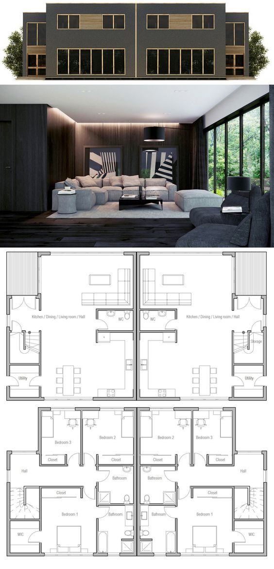 Plan de maison duplex maison duplex pinterest home for Plan maison duplex