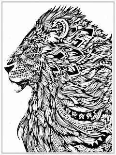 Lion Cat Abstract Doodle Zentangle Paisley Coloring Pages