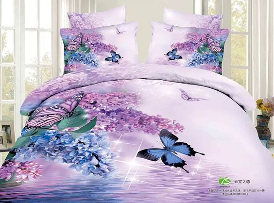 Purple butterfly 3D Bedding Set - High Quality 3D Printed Duvet Cover Pillow Case and Sheet - Super Soft, Comfortable And Machine Washable - 100% Cotton (Comforter not included) (Size: Queen), available on wish
