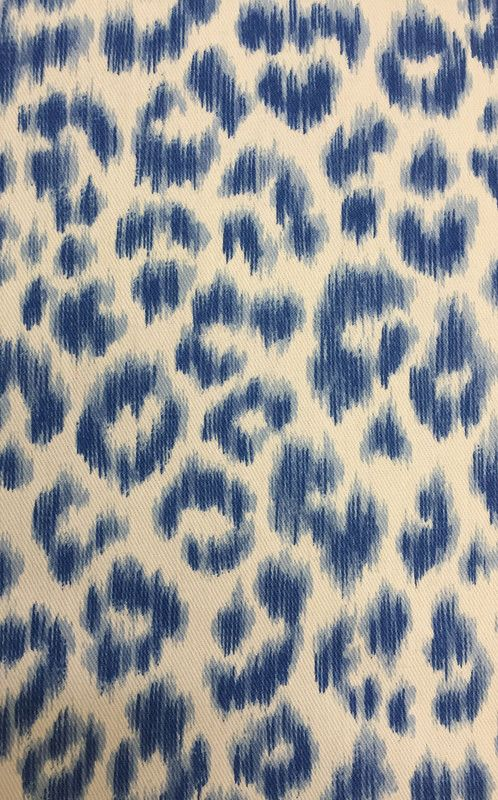 Blue Leopard Print Fabric By The Yard Kitchen Window Treatments Animal Print Fabric Blue Fabric