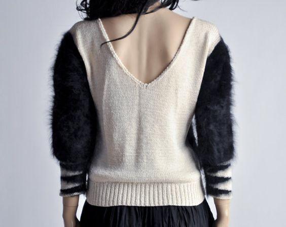 ivory knit sweater / angora slv / zig zag by persephonevintage