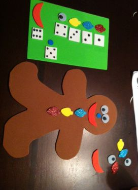 Roll a Gingerbread Man: Two players take turns rolling the die, and they add on the body part/clothing that corresponds with the number they rolled.