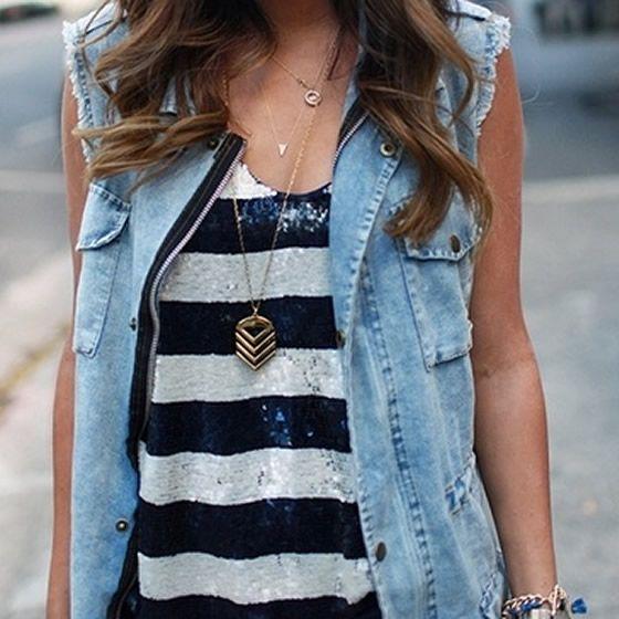 Colete jeans com regata