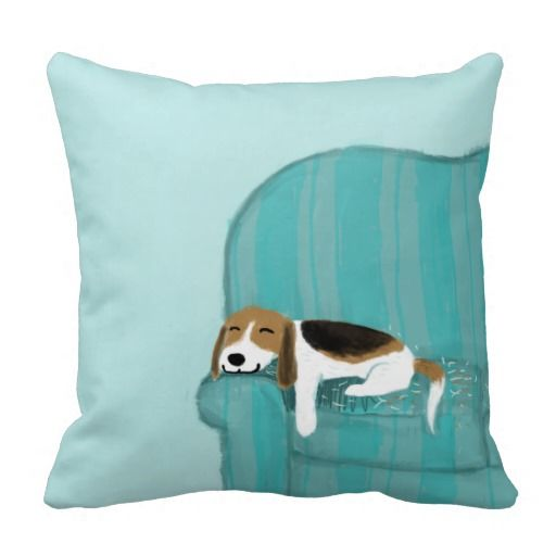 Cute Throw Pillows Pinterest : Happy Couch Dog - Cute Beagle Relaxing Throw Pillow PILLOWS THROW PILLOWS Pinterest ...