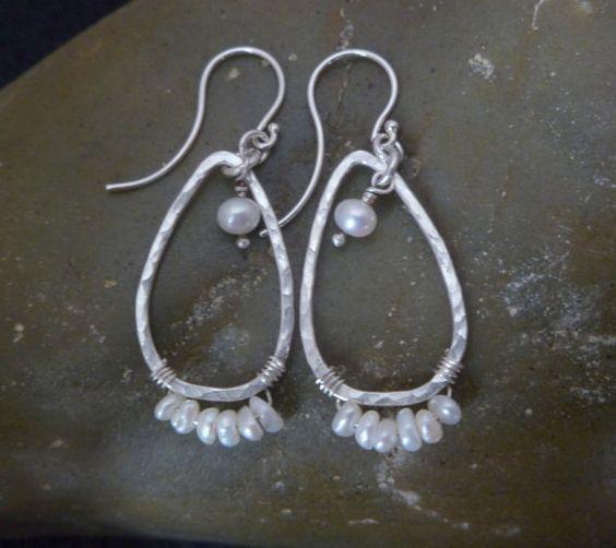 Pearl Earrings - Silver Teardrops - OOAK - Casually Elegant - ready to ship