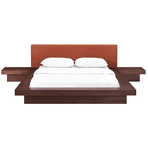 Sleek Queen Size Bed Frame Headboard And Side Stand Bedroom Set Foam Padded Upholstery On Headboar Bedroom Set Queen Sized Bedroom Sets Queen Size Bed Frames