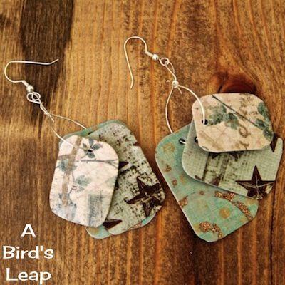 A Bird's Leap: 4th: DIY Sunbleached Paper Earrings